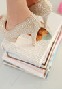 Heels on books beautiful shoes Royalty Free Stock Images