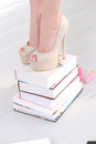 Heels on books beautiful shoes Stock Image