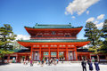 Heian jingu shrine kyoto japan april tourists visit on april in kyoto japan old kyoto is a unesco world heritage site and was Royalty Free Stock Photography