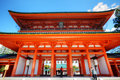 Heian jingu shrine kyoto japan april tourists visit on april in kyoto japan old kyoto is a unesco world heritage site and was Royalty Free Stock Photos
