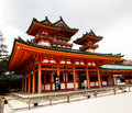 Heian shrine kyoto japan with beautiful sakura Royalty Free Stock Image