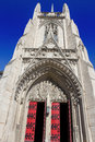 Heinz chapel closed doors gothic architecture of pittsburghs historic and grandiose facade Royalty Free Stock Images