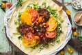 Heirloom Tomatoes Tart with Zucchini, Blue Cheese, Thyme and Honey Royalty Free Stock Photo