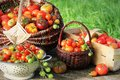 Heirloom variety tomatoes in baskets on rustic table. Colorful tomato - red,yellow , orange. Harvest vegetable cooking Royalty Free Stock Photo