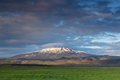 Hekla volcano with beautiful clouds during sunset Royalty Free Stock Photo