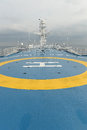 Helecoptor landing pad on ferry closeup of helicopter Stock Image