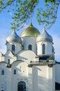 Helgon sophia cathedral i veliky novgorod ryssland på sommarsolnedgången Royaltyfria Bilder