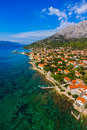 Helicopter aerial shoot of famous tourist destination on peljesac peninsula croatia Royalty Free Stock Photography