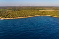 Helicopter aerial shoot of istrian coastline near pula croatia Royalty Free Stock Image