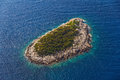 Helicopter aerial shoot small island near mljet tourist destination dubrovnik archipelago croatia Royalty Free Stock Photo