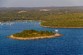 Helicopter aerial shoot of small island near pula croatia Royalty Free Stock Photo