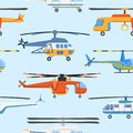 Helicopter air transport propeller aerial vehicle flying modern aviation military civil copter aircraft vector seamless Royalty Free Stock Photo