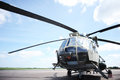 The helicopter in airfield waits for command for take off Stock Images
