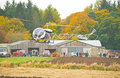 Helicopter arrives at Ploughing Championship. Royalty Free Stock Images