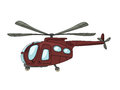 Helicopter cartoon drawing against white background Stock Photography