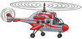 Helicopter cartoon rescue flying in the air Stock Photography