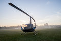 Helicopter field mist morning a on the countryside early at sunrise with dew on the windows Royalty Free Stock Image