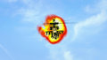 Helicopter flying in front of explosion Royalty Free Stock Photo