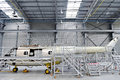 Helicopter fuselage in a factory detail with on the repair line Royalty Free Stock Photography