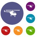 Helicopter icons set