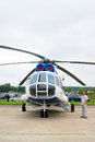 Helicopter at international aerospace salon maks a man stands by a and looks into the sky taken on august in zhukovsky moscow Royalty Free Stock Photos