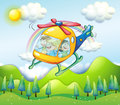 A helicopter with kids illustration of Stock Photo