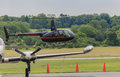 Helicopter rides small giving to passengers at marshall county illinois fly in on june Stock Photo