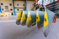 Helicopter rotor blades in hangar Royalty Free Stock Photo