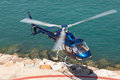 Helicopter service in the port of Barcelona Royalty Free Stock Photo