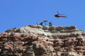 Helicopter on top of mountain venue Royalty Free Stock Image