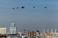 Helicopters moscow may celebration of the th anniversary of the victory day wwii flight of aircraft over the city a group of Royalty Free Stock Photo