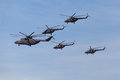 Helicopters moscow may celebration of the th anniversary of the victory day wwii flight of aircraft in the sky a group of military Royalty Free Stock Images