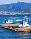 Helicopters on platform Stock Image