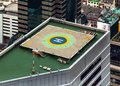 Helipad (Helicopter landing pad) on roof top building.