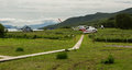 Helipad on the source of river Ozernaya on Kurile lake. South Kamchatka Nature Park.