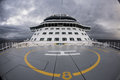 Helipad on upper deck of ship Royalty Free Stock Photo