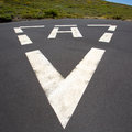 Heliport triangle white soil painted sign Royalty Free Stock Image