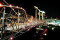 Helix Bridge and Marina Bay Sands IR Stock Photo