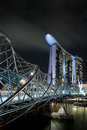Helix bridge and marina bay sands at night Royalty Free Stock Images