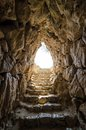 Hell exit from mycenaean water tank reminds of way out of underworld Stock Photos