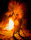 Hell fire and death holding scythe conceptual image Stock Photos