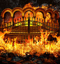 Hell gates fantastic entrance with stairs and portal like columns covered in flames and smoke Royalty Free Stock Photos