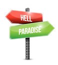 Hell and paradise road sign illustration design Royalty Free Stock Photo