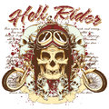Hell rider skull wait to take a ride on his bike Royalty Free Stock Photo