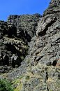 Hell`s Canyon Oregon and Idaho volcanic rock and limestone geologic feature vertical Royalty Free Stock Photo