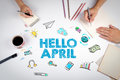 Hello april, Business concept. The meeting at the white office table