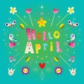 Hello April greeting card