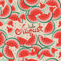 Hello August against the background of watermelons. Royalty Free Stock Photo
