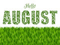Hello AUGUST. Decorative Font made in swirls and floral elements Royalty Free Stock Photo