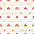 Hello august seamless pattern with watermelon pieces and flying bees. Royalty Free Stock Photo